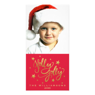 Holly Jolly Christmas Photo | Whimsical Red Gold Card
