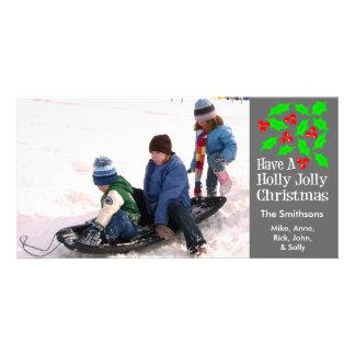 Holly Jolly Christmas Photocards (Gray) Card