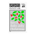 Holly Jolly Christmas Postage Stamps (Silver)