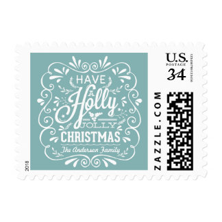 Holly Jolly Christmas Rustic Blue & White Holiday Postage