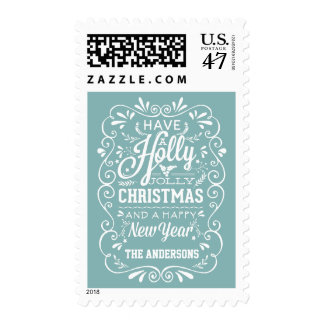 Holly Jolly Christmas Rustic Chalk Art Holiday Postage