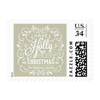 Holly Jolly Christmas Rustic Chalk Art Holiday Stamp