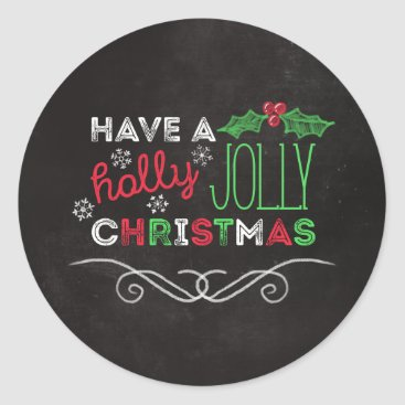 Christmas Themed Holly Jolly Christmas Rustic Chalkboard Classic Round Sticker