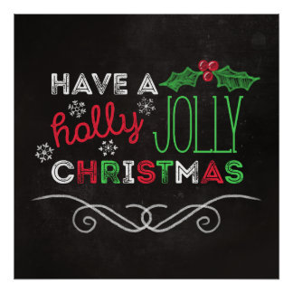 Holly Jolly Christmas Rustic Chalkboard Poster