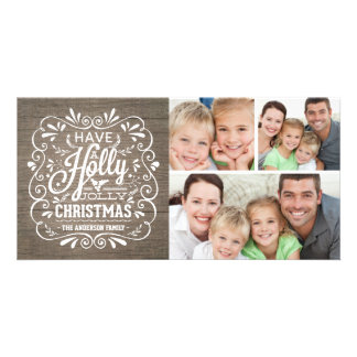 Holly Jolly Christmas Rustic Wood Photo Collage Card