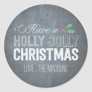Holly Jolly Christmas Sticker or Envelope Seal