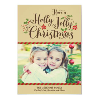 Holly Jolly Christmas | Tan Photo Card Greeting Announcements