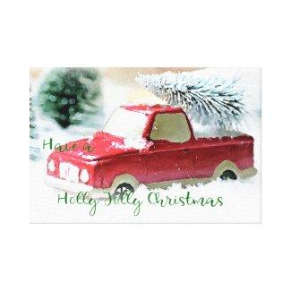 Holly Jolly Christmas Truck Canvas Wall Art
