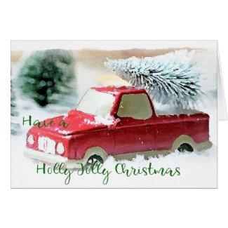 Holly Jolly Christmas Truck Christmas Cards