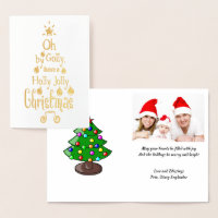 Holly Jolly Christmas Typography Gold Image , ZSG Foil Card