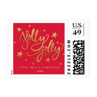 Holly Jolly Christmas | Whimsical Red Gold Script Postage