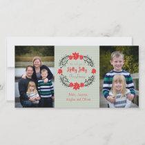 Holly Jolly Christmas Wreath photo card