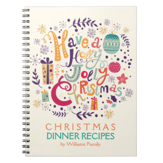 Holly Jolly Colorful Christmas Wreath Spiral Notebook