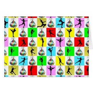 HOLLY JOLLY FIGURE SKATER CHRISTMAS DESIGN CARD