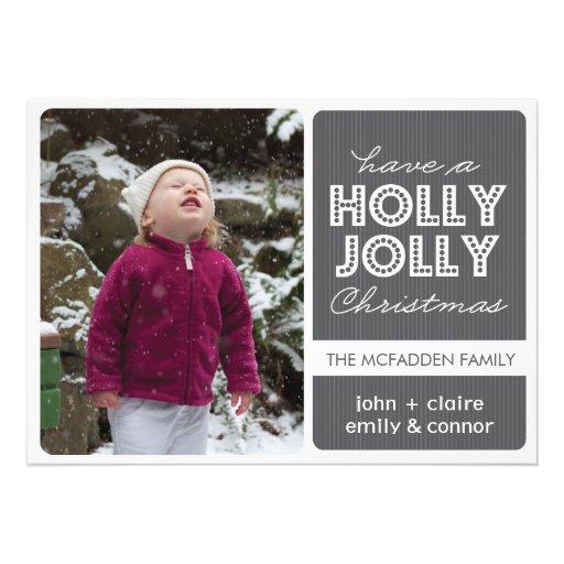 'Holly Jolly' (Graphite) Holiday Photo Card