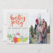 Holly Jolly Greenery One Photo Christmas Card