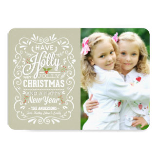 Holly Jolly Greige & White Christmas Photo Card