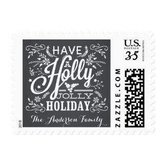 Holly Jolly Holiday Christmas Foliage Chalkboard Stamps