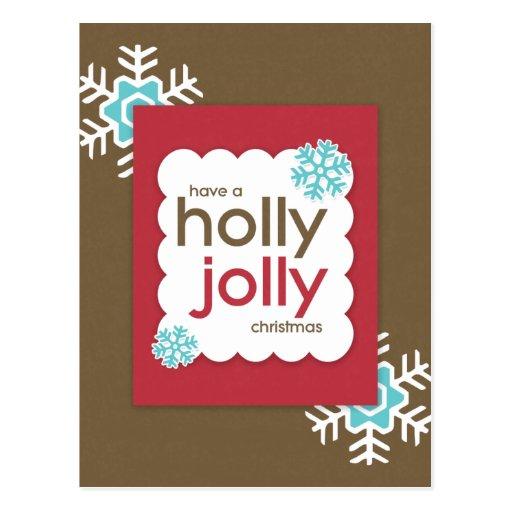HOLLY JOLLY Holiday Christmas Postcard