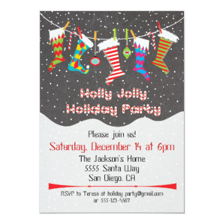 Holly Jolly Holiday Party Hanging Stockings Invite