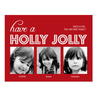 Holly Jolly Holiday Photo Card Postcard Post Cards