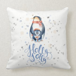 Holly Jolly Modern Typography & Christmas Penguins