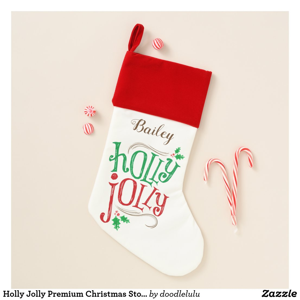 Holly Jolly Premium Christmas Stocking