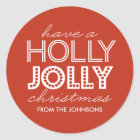 Holly Jolly Red Christmas Gift Tag Sticker