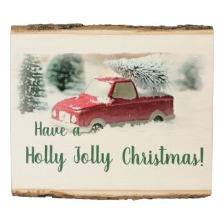 Holly Jolly REd Christmas Truck Wall Hanging Wood Panel