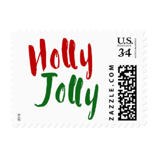Holly Jolly Red Green Black Christmas Typography Postage