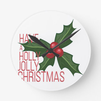 Holly Jolly Round Clock