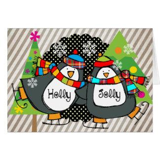 Holly Jolly Skating Penguins Holiday Greeting Card
