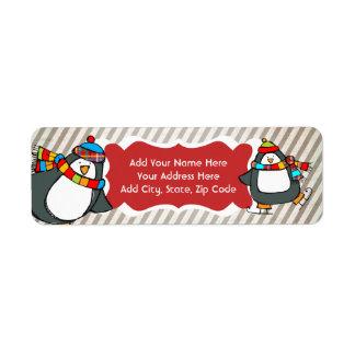 Holly Jolly Skating Penguins Return Address Labels