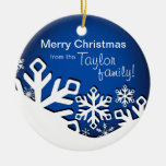 Holly Jolly Snowflakes Christmas Photo| sapphire Double-Sided Ceramic Round Christmas Ornament