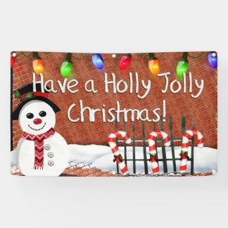 Holly Jolly Snowman Banner