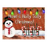 Holly Jolly Snowman Post Card