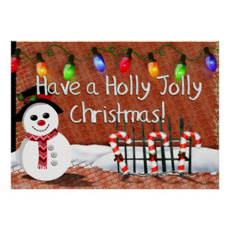 Holly Jolly Snowman Posters
