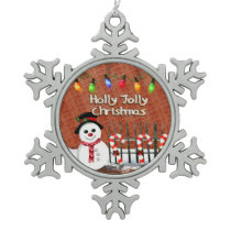 Holly Jolly Snowman Snowflake Pewter Christmas Ornament