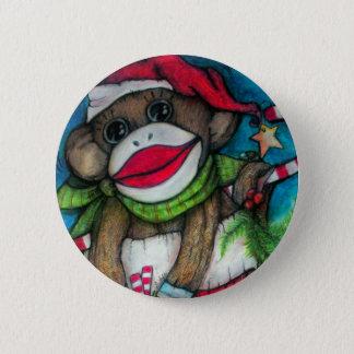 Holly Jolly Sock Monkey Button