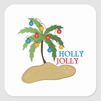 Holly Jolly Square Stickers