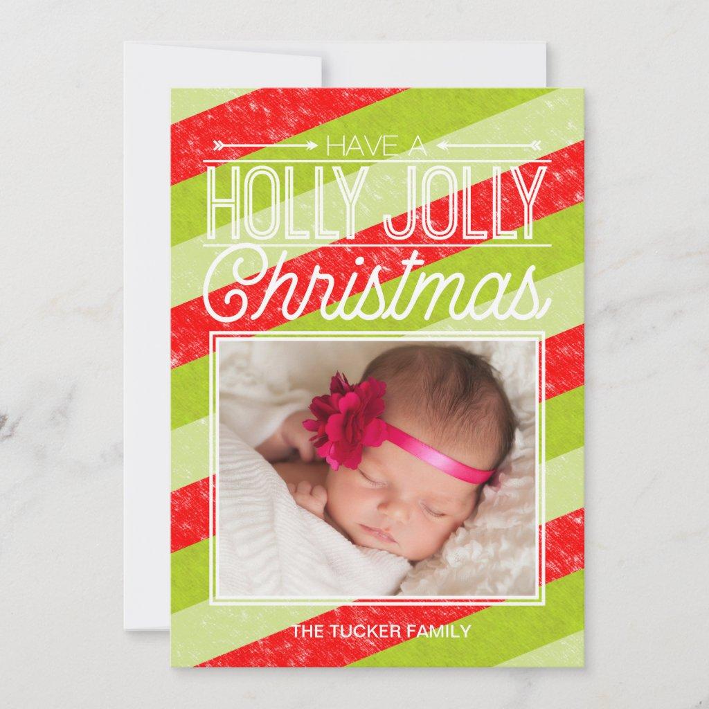 Holly Jolly Stripes Christmas Photo Card