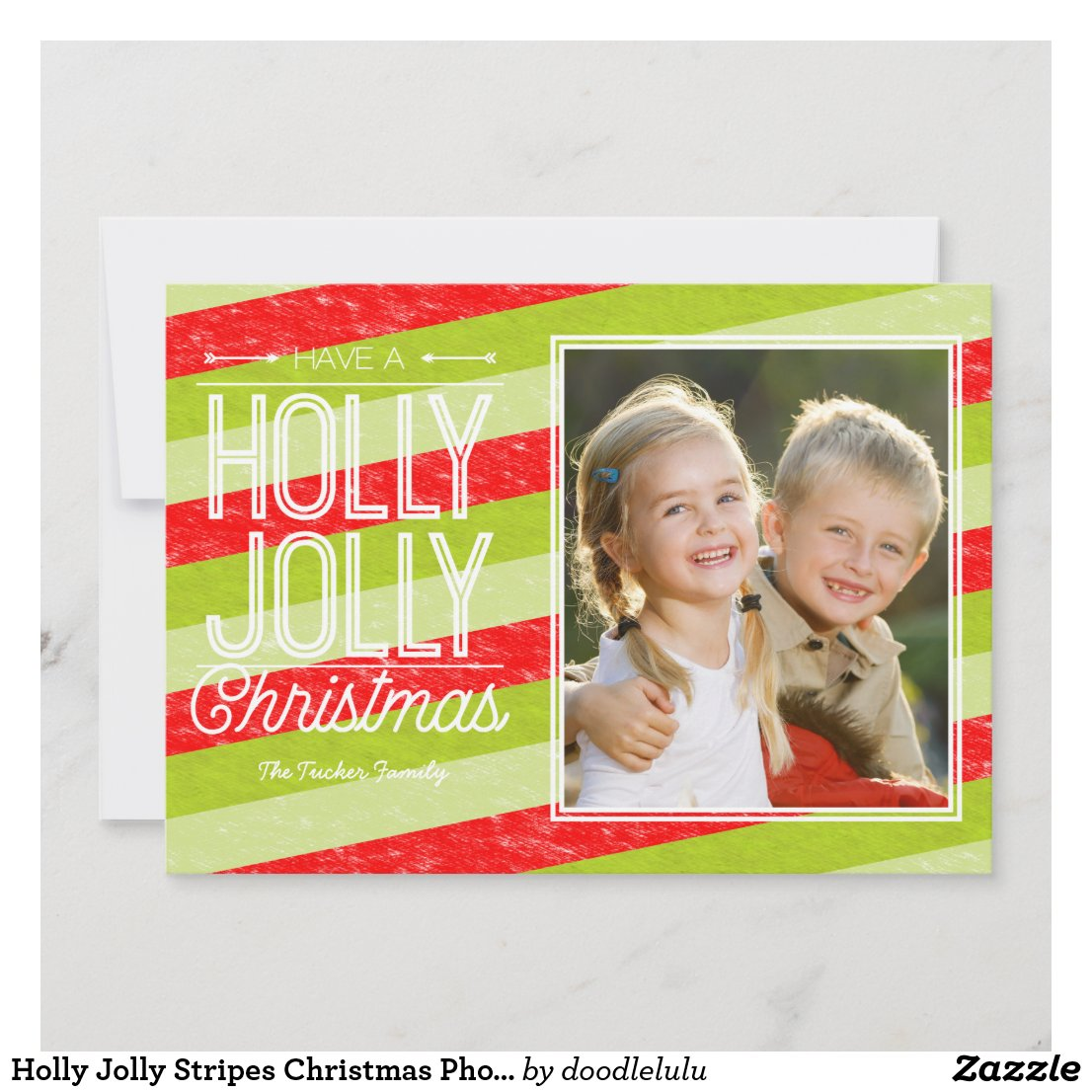 Holly Jolly Stripes Christmas Photo Holiday Card