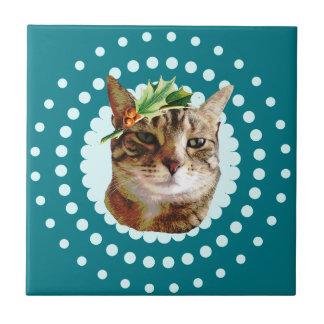 Holly Jolly Tabby Cat Christmas Tile