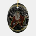 Holly King Double-Sided Oval Ceramic Christmas Ornament