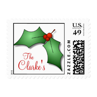 Holly Last Name Christmas Postage Stamp