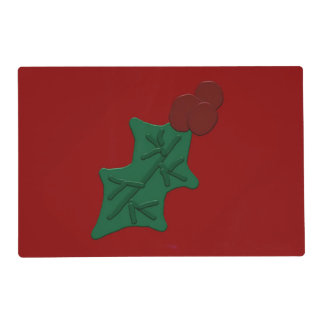 Holly Leaf and Berries Laminated Placemat