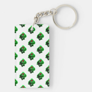 Holly Leaf and Berries Pattern Keychain