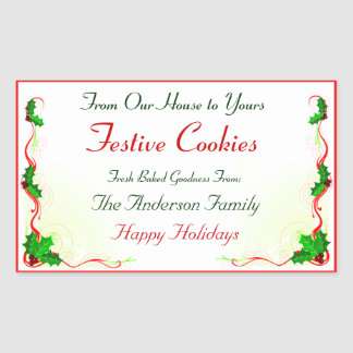 Holly Leaf and Red Ribbon Holiday Food Rectangular Sticker