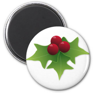 Holly Leaf with Berries 2 Inch Round Magnet