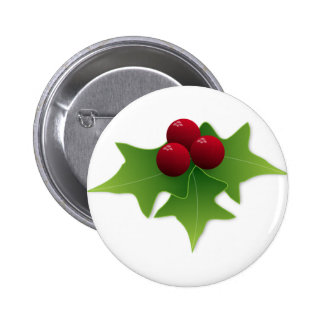 Holly Leaf with Berries Button